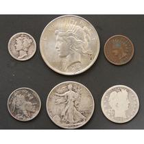 Monedas Eeuu 1899 Indio Bufalo Plata Cobre Antigua Lote K3n