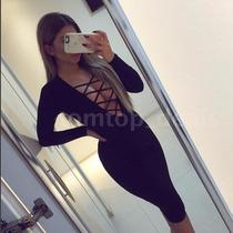 Sexy Vestido Negro Coctel Licra Strech Talla Chica Escote Am