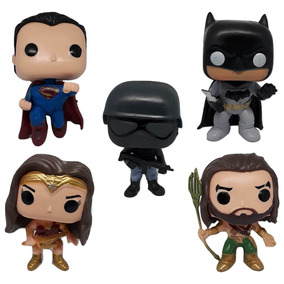 Kit Funko Pop Réplica Liga Batman Superman Aquaman Mulher M