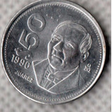 Moneda Cincuenta Pesos Acero Benito Juárez 1990 C1