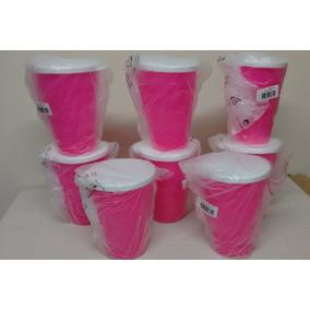 Conjunto De Copos Rosa Neon Com 08 Peças