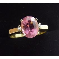 Belissimo Anel Em Ouro 18k Com Turmalina Rosa E Diamante