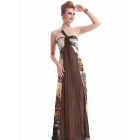Vestido De Fiesta Talle M Asimetríco En Tonos Cálidos