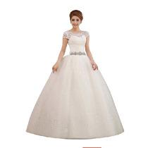 Vestido De Noiva Renda Manga Curta Bordado Com Strass