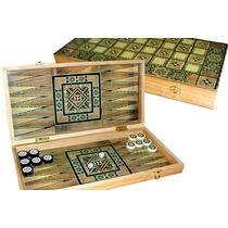 Juego De Damas Y Backgammon Caja Y Fichas En Madera Bisonte