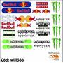 32 Adesivos Kit Para Bike E Moto Monster Red Bull Will586