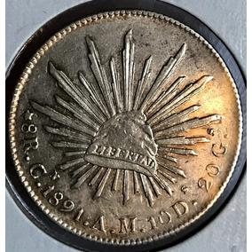 Moneda 8 Reales 1891 A M Ceca Culiacan Plata Envio Gratis