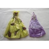 Dos Vestidos De Fiesta Para Barbie: Lila Y Amarillo, Impecab