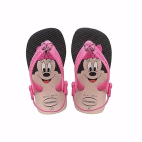 Ojotas Disney Baby Minnie Rosa/negro Havaianas Pie Luminoso