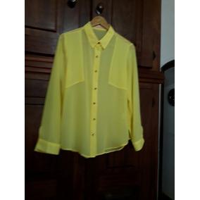 Camisa Amarela De Seda Tam 40