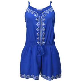 Jumpsuit Tirantes Bordado Dama Mujer Azul Rey 1621 Zoara