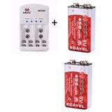 Kit Carregador Pilhas Mox + 2 Bateria Recarregável 450 Mah