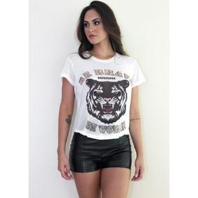 Camiseta Feminina Branca Estampa De Leão T-shirt Be Brave