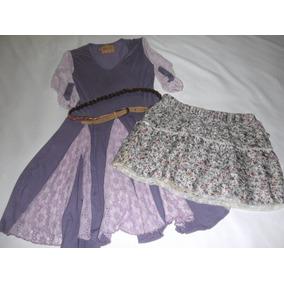 Vestido Vesna Violeta Y Pollera C/volados Flores Sara - T M