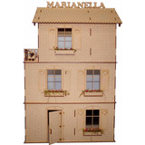 Casa De Muñecas De Fibrofacil Con 23 Muebles