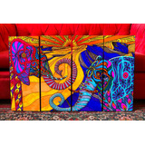 Cuadros Modernos Artesanales Elefantes. Surrealismo