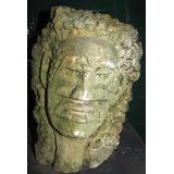 Escultura Antigua Cabeza Indigena Tallada En Piedra