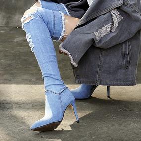 Bota Jeans Claro Kardashian Salto Fino Sob Medida 2 Modelos