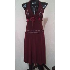 Vestido De Licra Vino Talla Ch 33 Estira Mas M