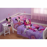 Kit Edredon Cama Cuna Toddler 4 Piezas Minnie Mouse