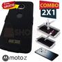 Funda Protector Holster Clip Y Cristal Templado Moto Z Play