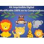 Kit Imprimible Animalitos De La Selva Bebés Fiesta Cumpleaño