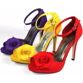 Sandalias Stiletto Seda Rojo O Violeta Celebritystore Import