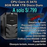 Cpu Core I5 3ra 8gb Ram 1tb Hdd
