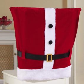 Kit 6 Capas De Cadeira Natal Roupa Do Papai Noel Luxo Natal