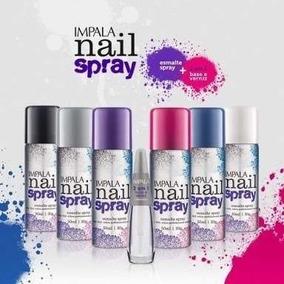 10 Kit Impala Esmalte Nail Spray + Esmalte Tratamento 2 Em 1