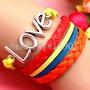@net Pulseira Couro 3em1 Amor Verão Dia Namorados Festa