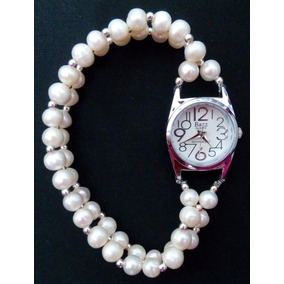 Reloj Con Extensible De Perla Y Plata