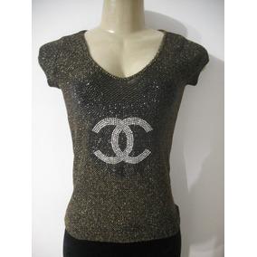 Blusa Camiseta Teds Tam M Preto Com Brilho Dourado Bom Estad c79b76e4fa01f