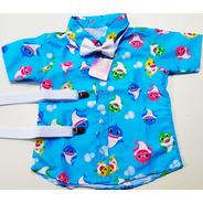 Conjunto Temático Luxo Baby Shark Azul Royal Festa