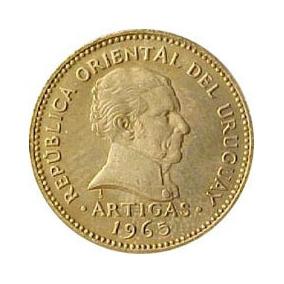 Moeda Antiga 1 Peso Uruguaio. Ano 1965. Cobre