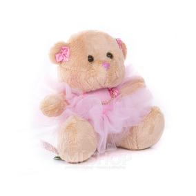 Urso Pelúcia Menina Rosa Bailarina Mini 16cm