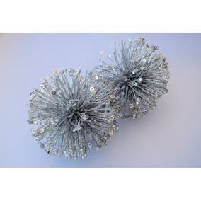 Set 2 Esferas En Forma Átomo Plateadas Para Árbol De Navidad