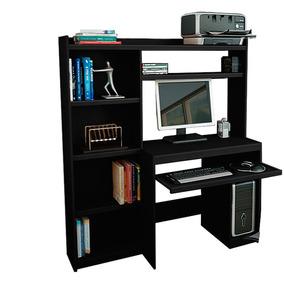 Escritorio Oficina Pc Con Alzada Y Biblioteca Initio Muebles