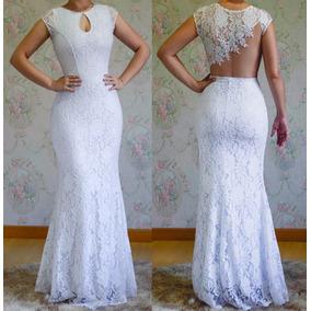 Vestido Longoem Renda, Sereia Noiva Branco D096m