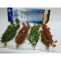Plantas Artificiais Plásticas Aquário - 4 Plantas 45cm Tetra