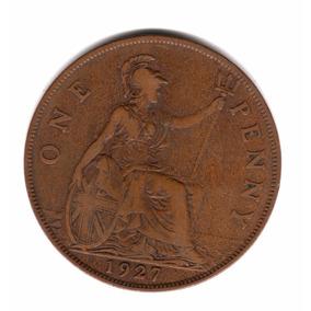 Inglaterra Gran Bretaña Moneda 1 Penny 1927 Km#826 Cobre