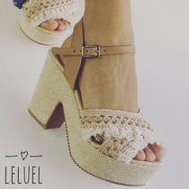Sandália Anabela Salto Grosso Cortiça Marrom Leluel Shoes