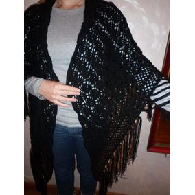 Chal De Invierno Negro Tejido A Mano Al Crochet