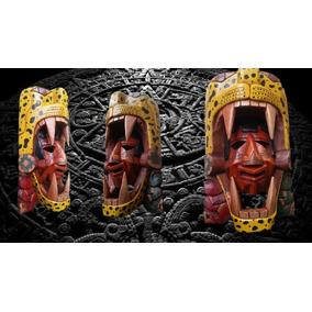 Mascara Del Guerrero Jaguar En Tallado Premium 50cm Cedro