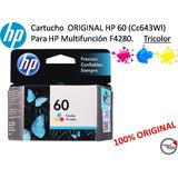 Cartucho Original Hp 60 (cc643wl) P/multifunc.f4280 Tricolor