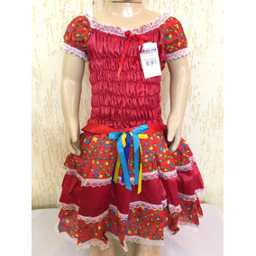 Vestido De Festa Junina Caipira Infantil 10 Lindo Luxo
