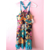 Vestido Limpia De Closet Outlet Flores Colores Azul Fiesta