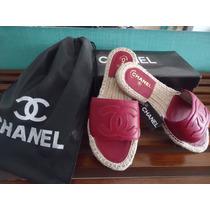 Sandália Alpargata Chanel Rasteira - Em Couro