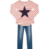 Conjunto Marisol Blusa Em Meia Malha Listrada + Calça Jeans.