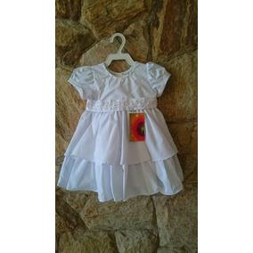 Vestido Infantil Festa Batizado Bordado Pérolas Tam P,m,g